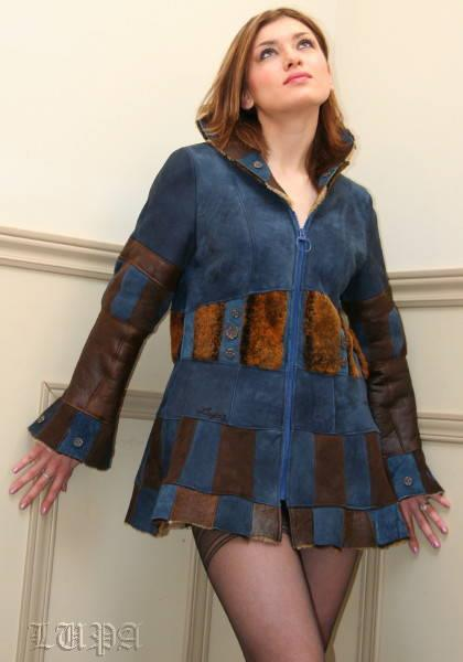 Shadows of the Night blue and brown reversible shearling coat