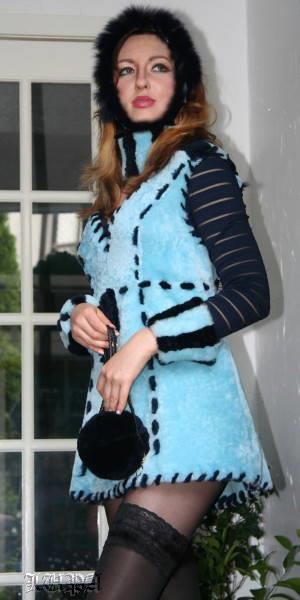 Magic in Blue sleeveless shearling dress